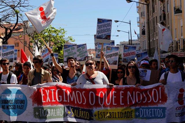 Manifestación del Primero de Mayo en Lisboa