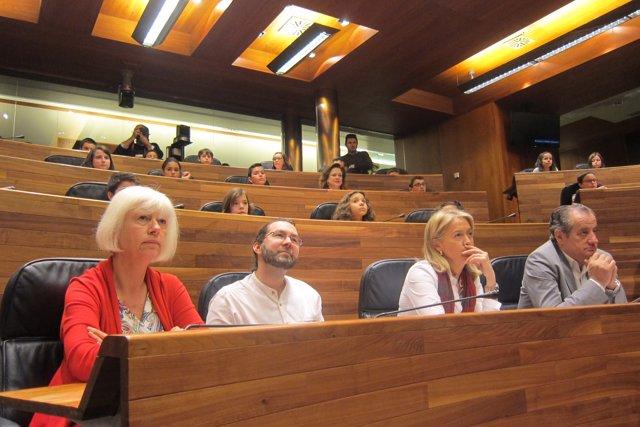 Diputaos d'IU, Podemos, Foru y C's, con alumnos de primaria, nel Plenu