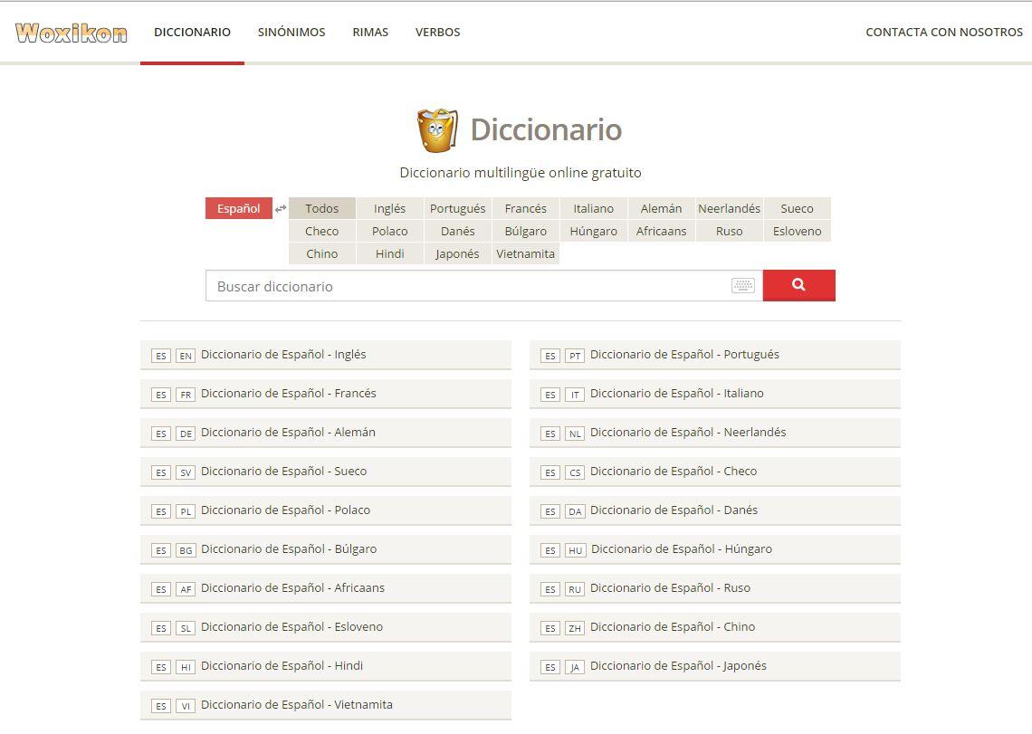 Woxicom diccionario idiomas