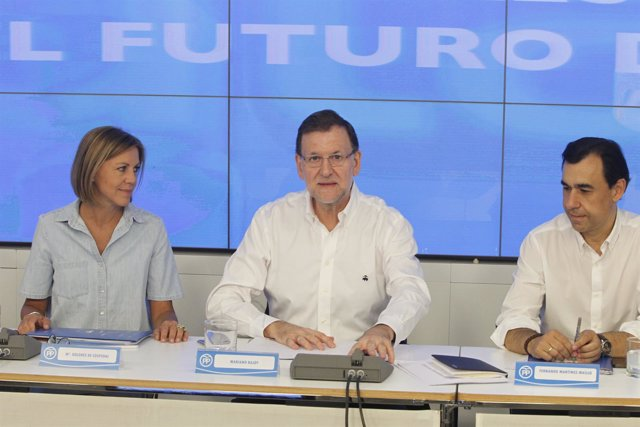 Rajoy, Cospedal y Maíllo en la reunión de trabajo con presidente provinciales