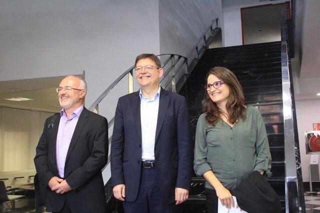 Mónica Oltra, Antonio Montiel y Ximo Puig.