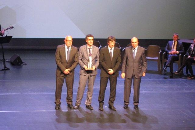 Jordi Baiget, Manel Esteller, Carles Puigdemont y Antoni Esteve