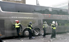 El autobús del Manchester United, apedreado en su llegada al campo del West Ham