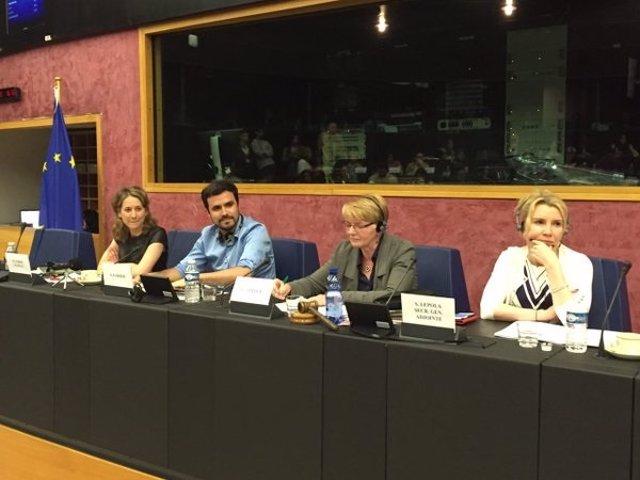 Garzón en la reunión del grupo de la izquierda europea en Estrasburgo