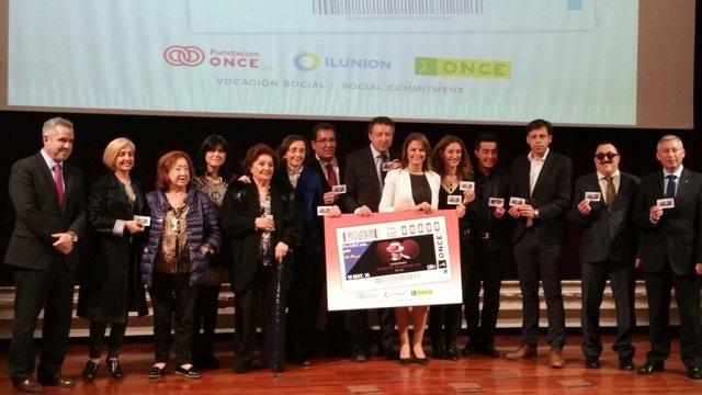 Presentación del cupón de la ONCE en homenaje a Juanito Valderrama