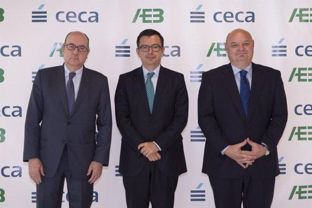 El presidente del BEI, Román Escolano, y José María Roldán (AEB)