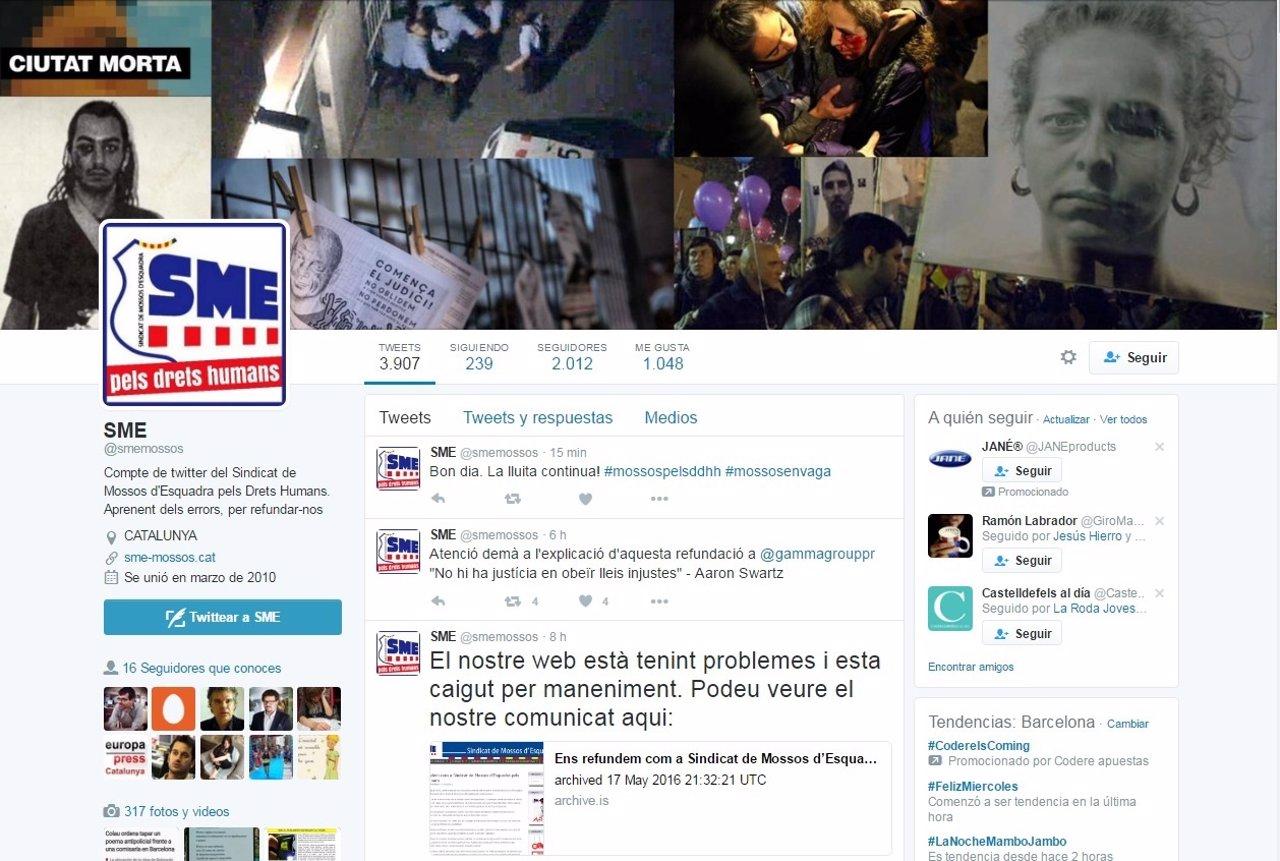 Hackean la cuenta de Twitter del Sindicato de Mossos d'Esquadra