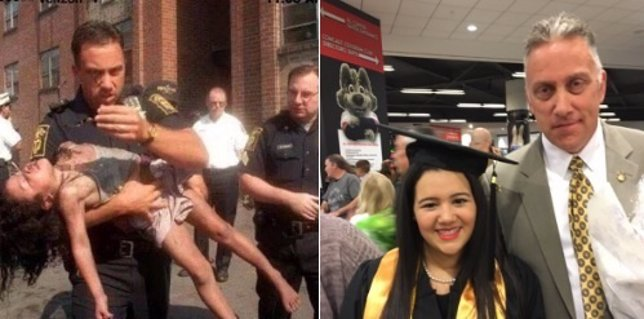 Policía salva a una niña y se fotografía el día de su graduación
