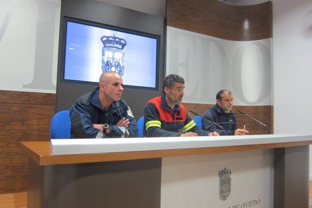 Por la izquierda, Pérez, García y Ordóñez, en rueda de prensa.