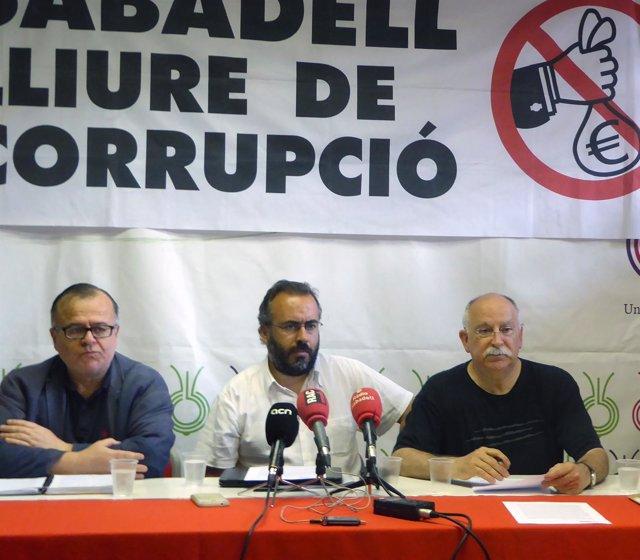 La rueda de prensa de la Plataforma Sabadell Lliure de Corrupció