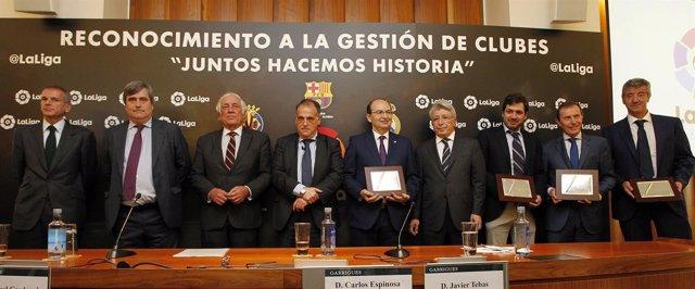 Tebas, Cardenal, Cerezo, José Castro y Butragueño en acto de LaLiga