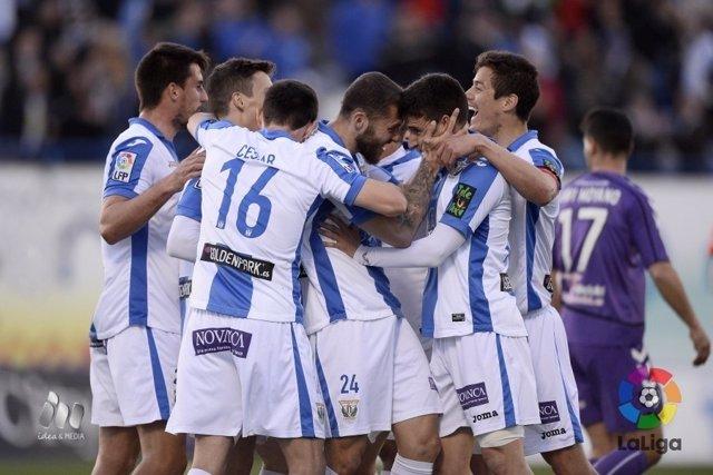 El Leganés celebra un gol ante el Real Valladolid