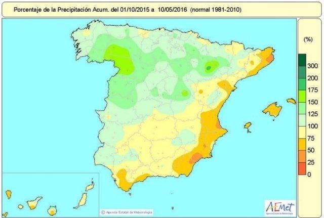 Distribución de las precipitacinoes en España hasta el 17 de mayo de 2016