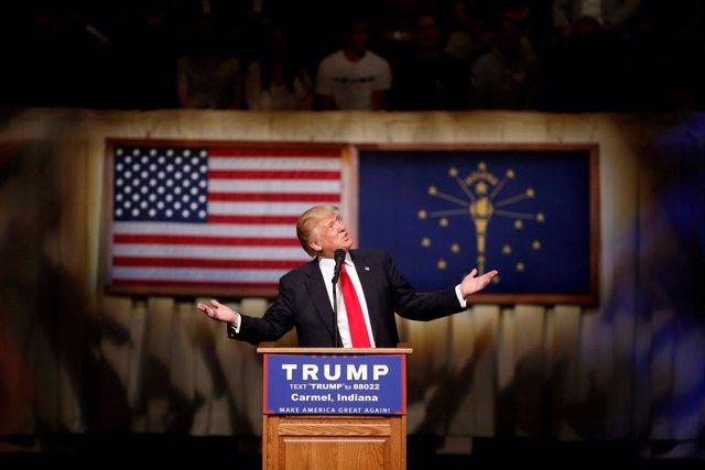 Donald Trump durante un mitin en Indiana