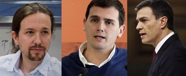 Pablo Iglesias, Albert Rivera y Pedro Sánchez