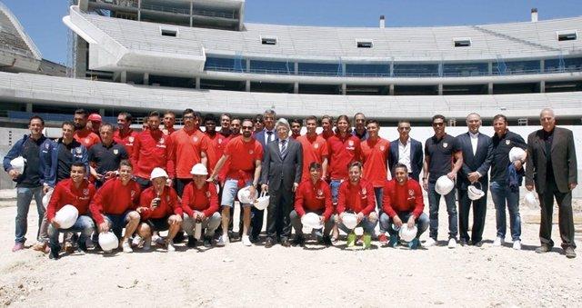 La plantilla del Atlético de Madrid visita su nuevo estadio
