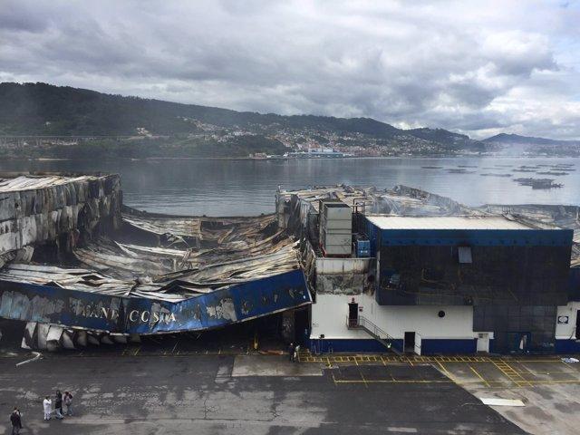 Instalaciones de Fandicosta incendiadas en Moaña (Pontevedra).