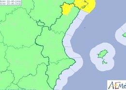 Alerta amarilla por fuertes rachas de viento en el interior de Castellón