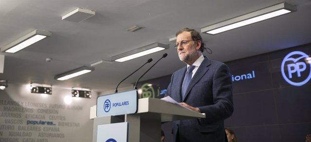 Mariano Rajoy tras la Junta Directiva del PP