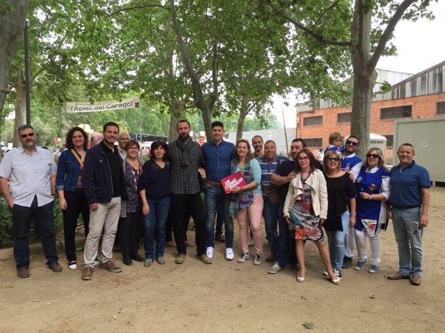 Miembros de EnComúPodem en el Aplec del Cargol en Lleida