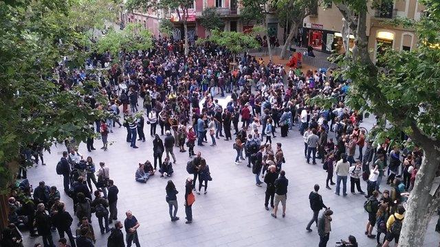 Concentración en Gràcia tras el desalojo del 'Banc Expropiat'
