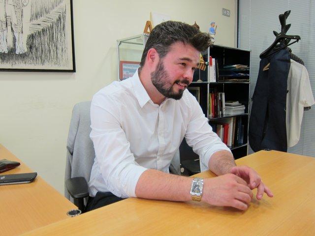 Gabriel Rufían (ERC) en una entrevista de Europa Press