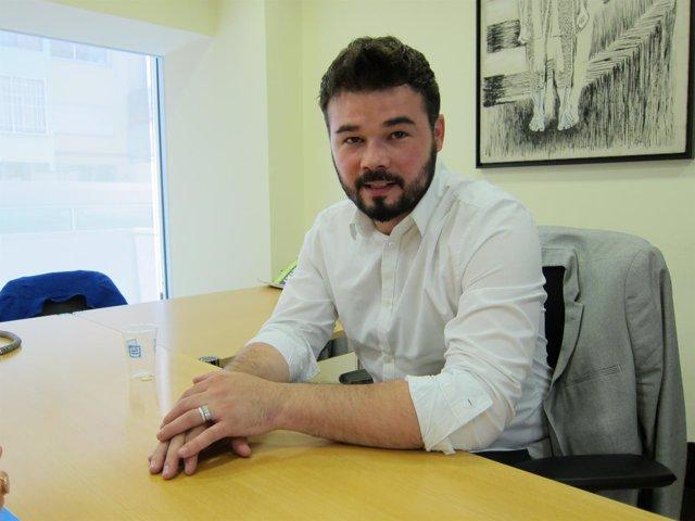 Gabriel Rufián (ERC) en una entrevista de Europa Press