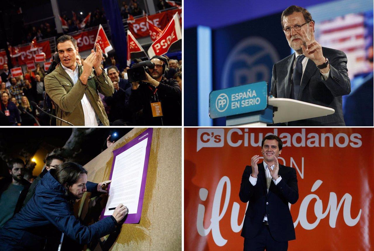 Mariano Rajoy, Albert Rivera y Pablo Iglesias
