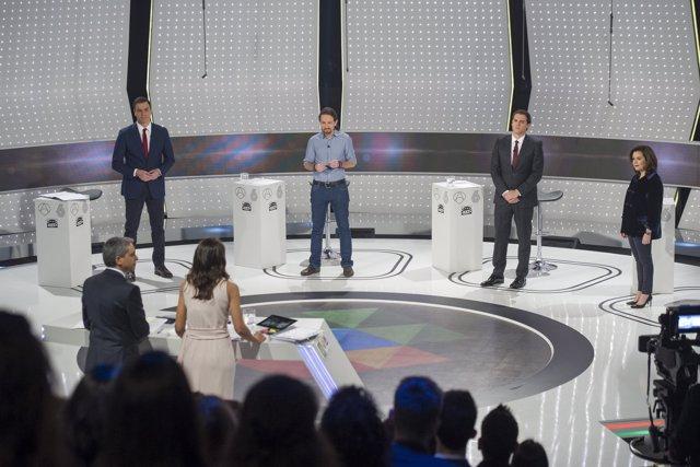 Candidatos de PSOE; Podemos y Ciudadanos y la vicepresidenta