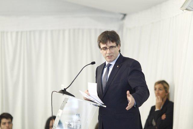 Carles Puigdemont en un acto en Madrid