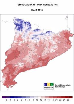 Mapa de temperatura de mayo en Catalunya