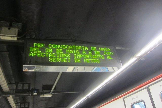 Paros en el Metro de Barcelona entre el 30 de mayo y el 2 de junio