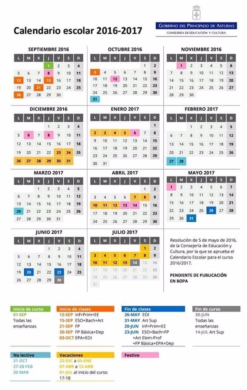 Calendario Escolar Asturias.Asturias Mantiene Los Tres Periodos De Vacaciones En Su Calendario Escolar