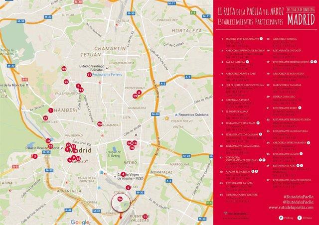 Plano de la 'Ruta de la Paella y el Arroz'