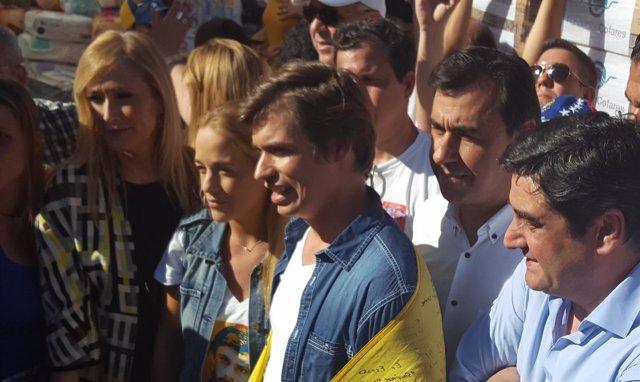 Cifuentes, Tintori, Baute y Martínez-Maillo, durante la recogida en Sol