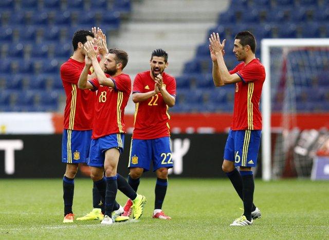 Selección española España Nolito Sergio Busquets Jordi Alba Bruno Soriano