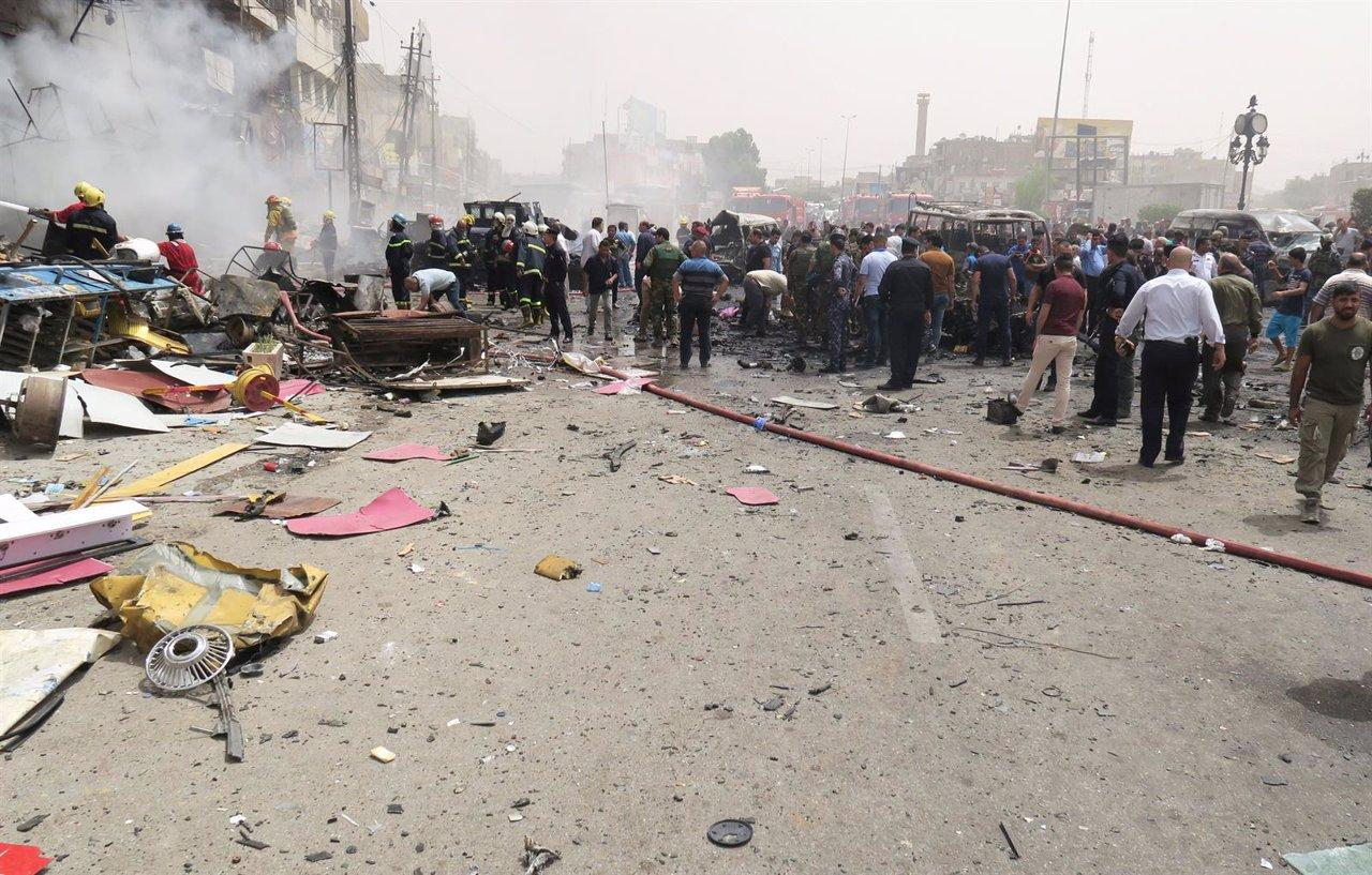 Lugar del atentado en Bagdad