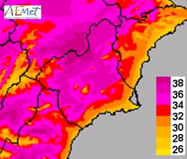 Mapa de temperaturas máximas para este jueves en Murcia