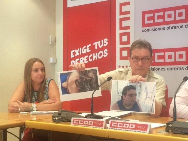 Jaime Cedrún con las fotos de la agresión a uno de los trabajadores.