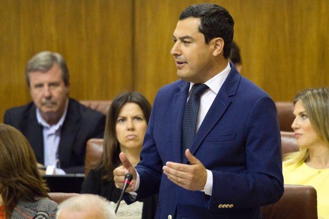 El presidente del PP-A, Juanma Moreno, en un debate parlamentario
