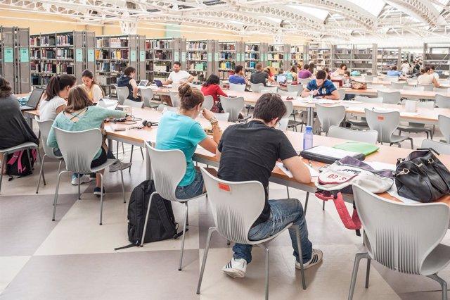 Alumnos estudiando en la biblioteca de la Universidad Pablo de Olavide