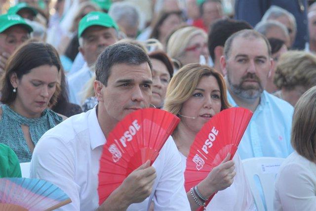 Susana Díaz y Pedro Sánchez en un acto público en Jerez