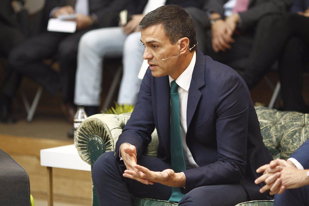 Pedro Sánchez en un foro de El Mundo