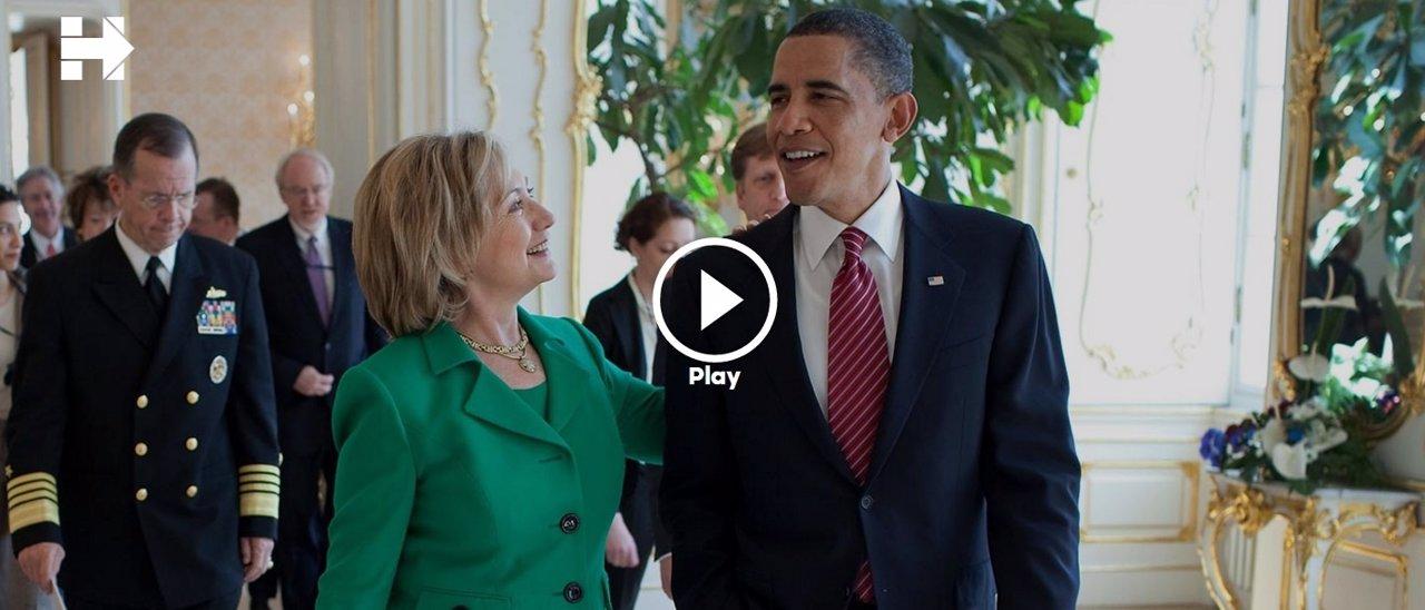 Imagen del vídeo en el que Obama apoya a Hillary Clinton