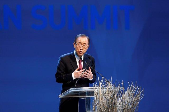 Ban Ki Moon durante la inauguración de la Cumbre Humanitaria Mundial