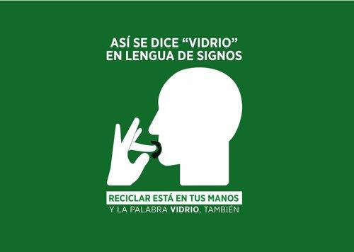 Pictograma 'vidrio' en lengua de signos española
