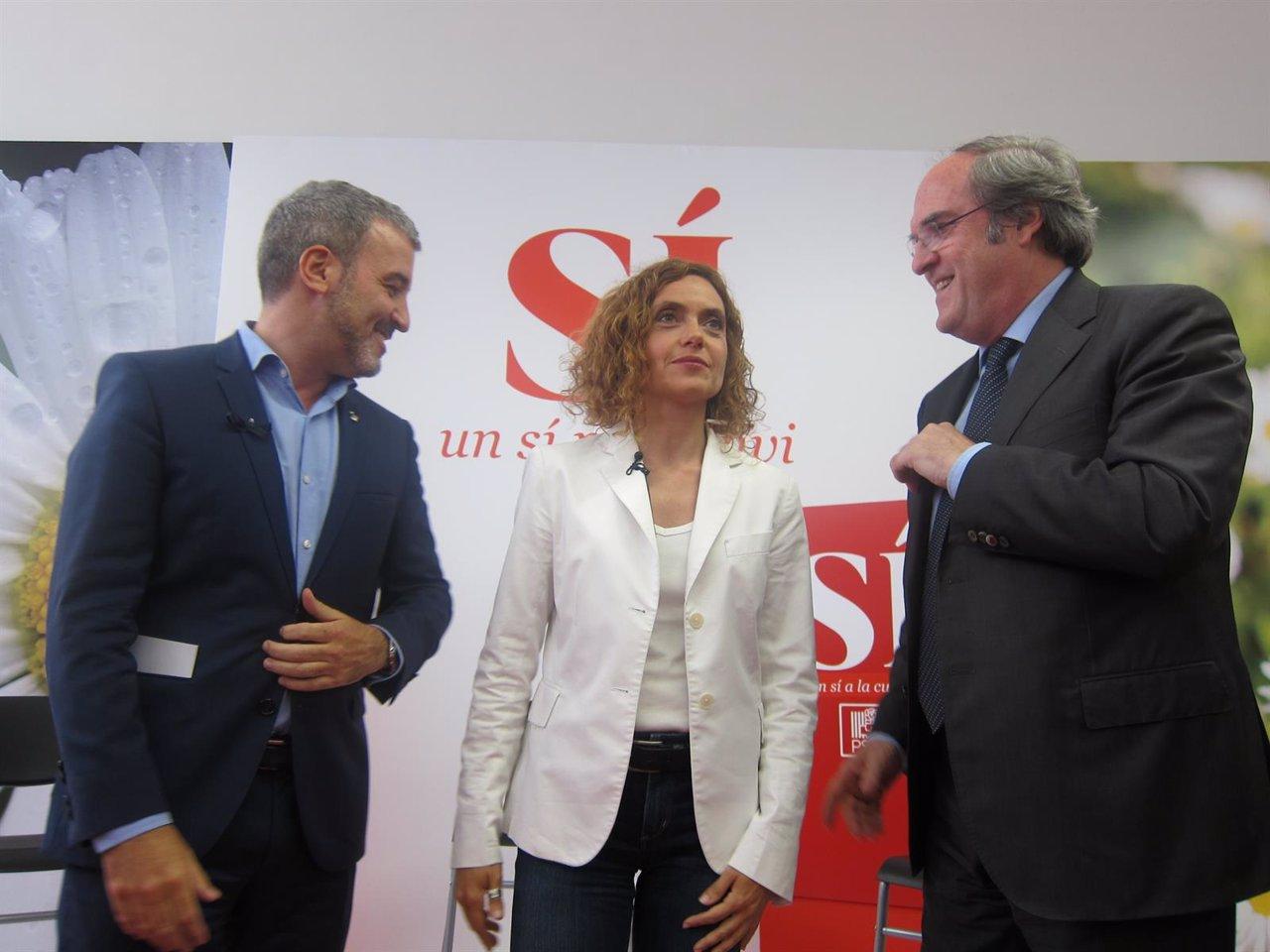Jaume Collboni, Meritxell Batet (PSC) y Ángel Gabilondo, PSOE