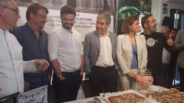 El pastelero C.Escribà presenta la Coca de les Eleccions con candidatos
