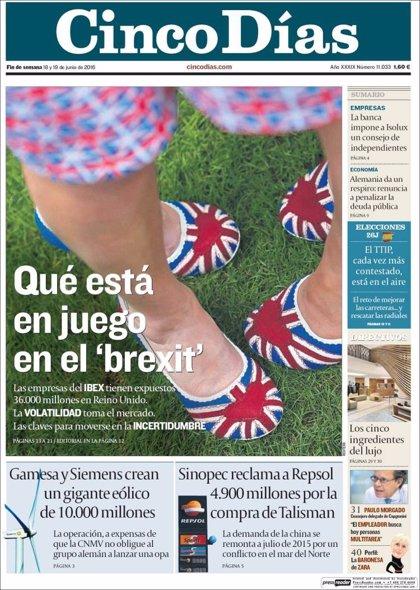 Las portadas de los periódicos económicos de hoy, sábado 18 de junio de 2016