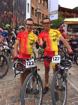 José Luis Carrasco y Manuel Beltrán en el Mundial de Maratón de MTB
